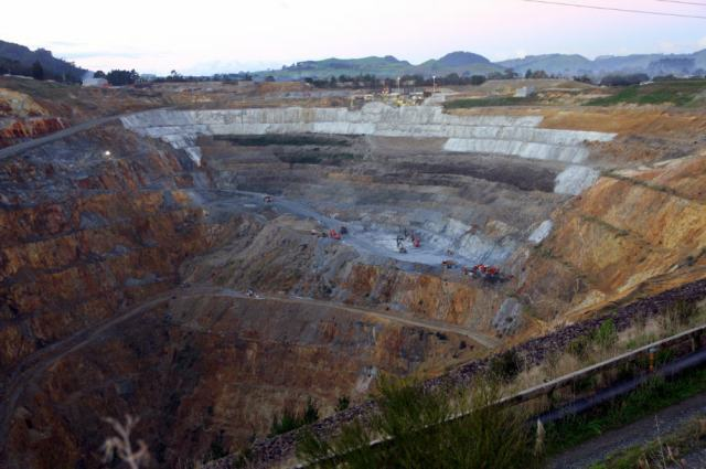 Waihi's open pit mine opened in 1987 and has since had several extensions made to its original scope, including additional underground development from the bottom of the pit.