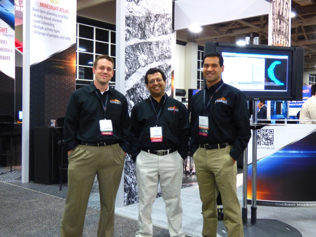 MineSight specialists Ryan Bloomfield, Abinash Moharana and Ernesto Vivas at SME.