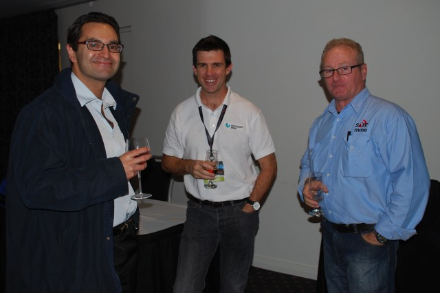 At MineQuest-Perth are Jack Gomez (Brockman Mining), Matthew Desmond (Leica Geosystems), Dean McAllister (SAFEmine)